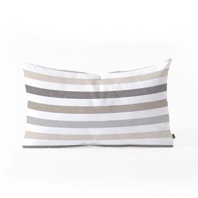 Little Arrow Design Co Mod Neutral Stripes Lumbar Throw Pillow Brown - Deny Designs