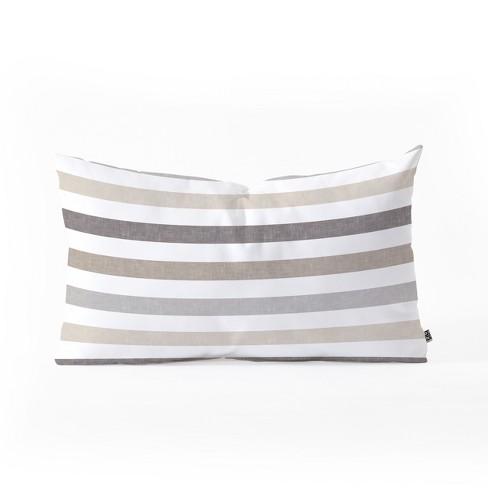 Little Arrow Design Co Mod Neutral Stripes Lumbar Throw Pillow Brown - Deny Designs - image 1 of 3