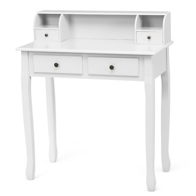Costway Writing Desk Mission White Home Office Computer Desk 4 Drawer White\Black\Pink