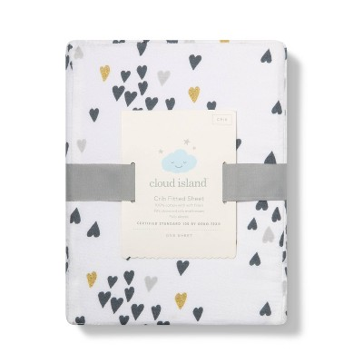 Fitted Crib Sheet Hearts - Cloud Island™ Gold/Black