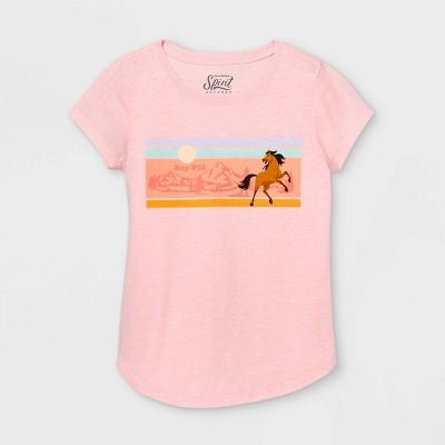 Girls' Spirit Riding Free Short Sleeve Graphic T-Shirt - Pink
