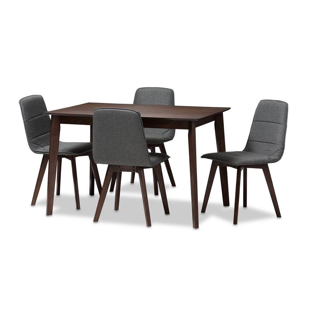 Karalee Mid Century Modern Walnut Finished Fabric Upholstered 5pc Dining Set Dark Gray, Brown - Baxton Studio, Dark Gray/Brown
