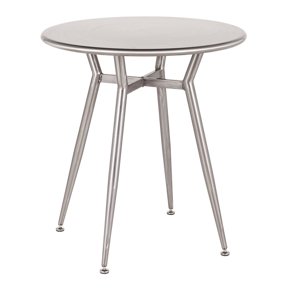 Terrific Clara Industrial Round Dinette Table Clear Brushed Silver Ncnpc Chair Design For Home Ncnpcorg