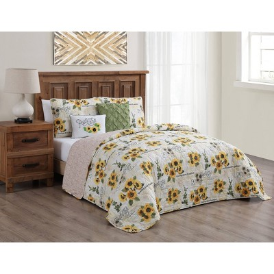 Yara Sunflower 5pc Quilt Set - Geneva Home Fashion