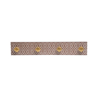 Patterned Wood and Brass Metal Wall Hooks - Foreside Home & Garden