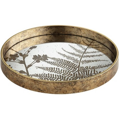 Dahlia Studios Fern Painted Gold and White Round Decorative Tray