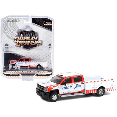 """2018 Chevrolet Silverado 3500 Dually Service Bed Truck """"Illinois Tollway"""" White & Red """"Dually Drivers"""" 1/64 Diecast Greenlight"""