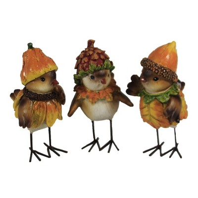 "Fall 5.25"" Fall Birds Set/3 Pine Cone Gourd Gourd  -  Decorative Figurines"