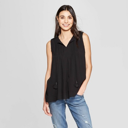 e4d87ac83bdaea Women s Sleeveless V-Neck Blouse With Tassels and Pintucking - Knox Rose™  Black