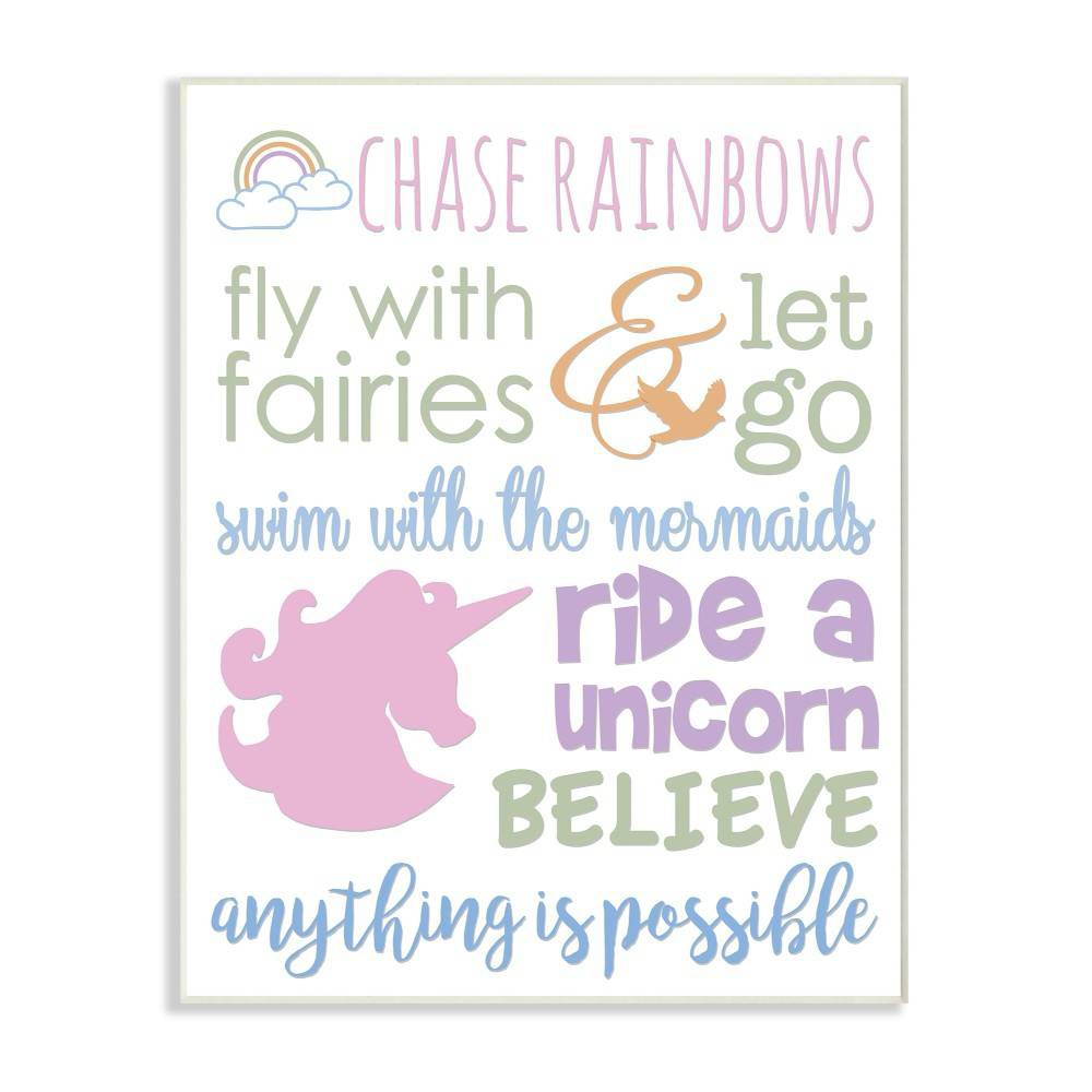 "Image of ""10""""x0.5""""x15"""" Chase Rainbows Believe Typography Wall Plaque Art - Stupell Industries"""