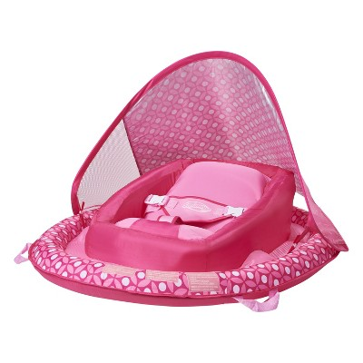 SwimWays Infant Baby Inflatable Swimming Pool Spring Float with Shade Canopy and 3 Point Harness for Ages 3 to 9 Months, Pink Flower