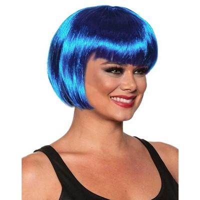 Underwraps Bob Cut One Size Adult Costume Wig | Blue