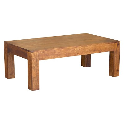 Handcrafted Cube Coffee Table - (16H x 43W x 23.5D) - Natural - Timbergirl