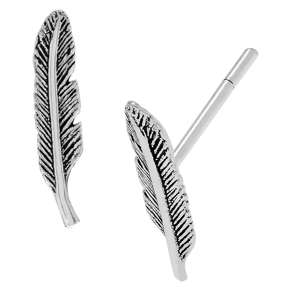 Women's Journee Collection Feather Emblem Stud Earrings in Sterling Silver - Silver