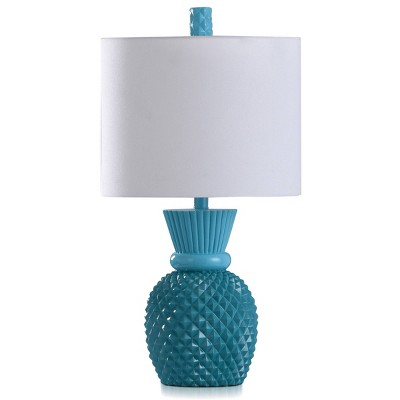 Nakita Painted Base Pineapple Shaped Accent Table Lamp with Linen Shade Kahiki Blue/White - StyleCraft