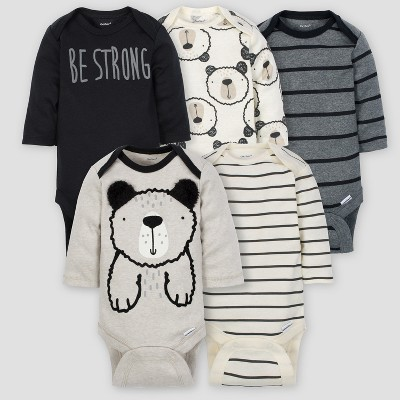 Gerber Baby Boys' 5pk Long Sleeve Onesies Bodysuit Bear - Gray/Oatmeal 3/6M