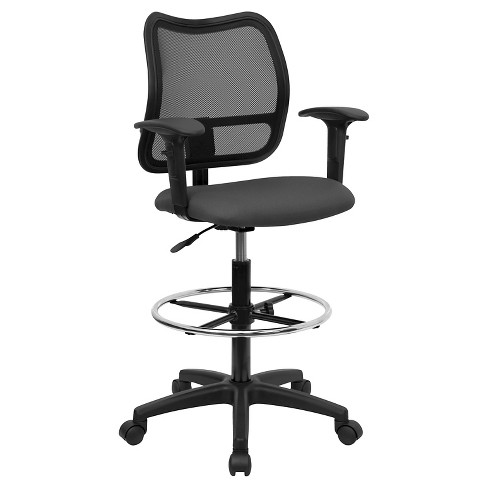 Mid-Back Mesh Drafting Chair Gray - Flash Furniture - image 1 of 4