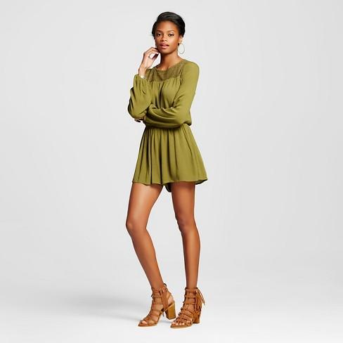 3fa6ce76f49a Women s Gauze Long Sleeve Romper - Xhilaration™ (Juniors )   Target