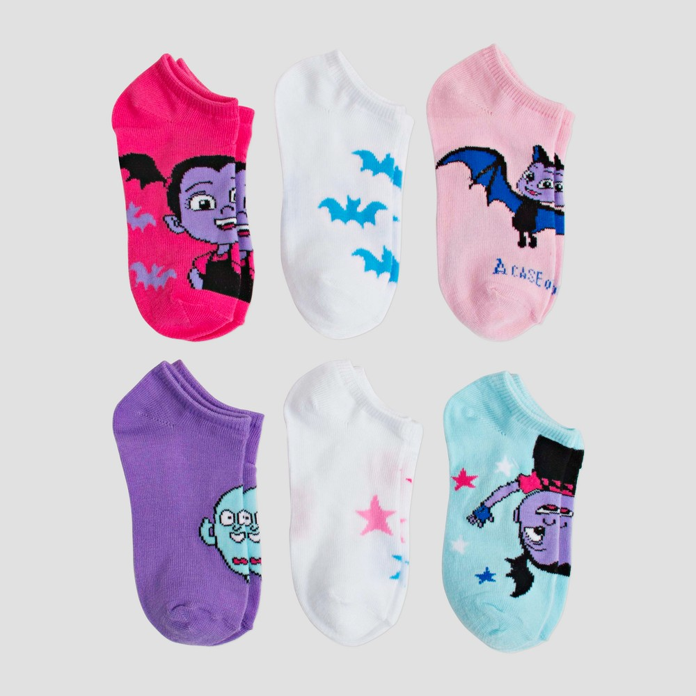 Girls' Disney Vampirina 6pk Assorted Socks - M/L, Multicolored