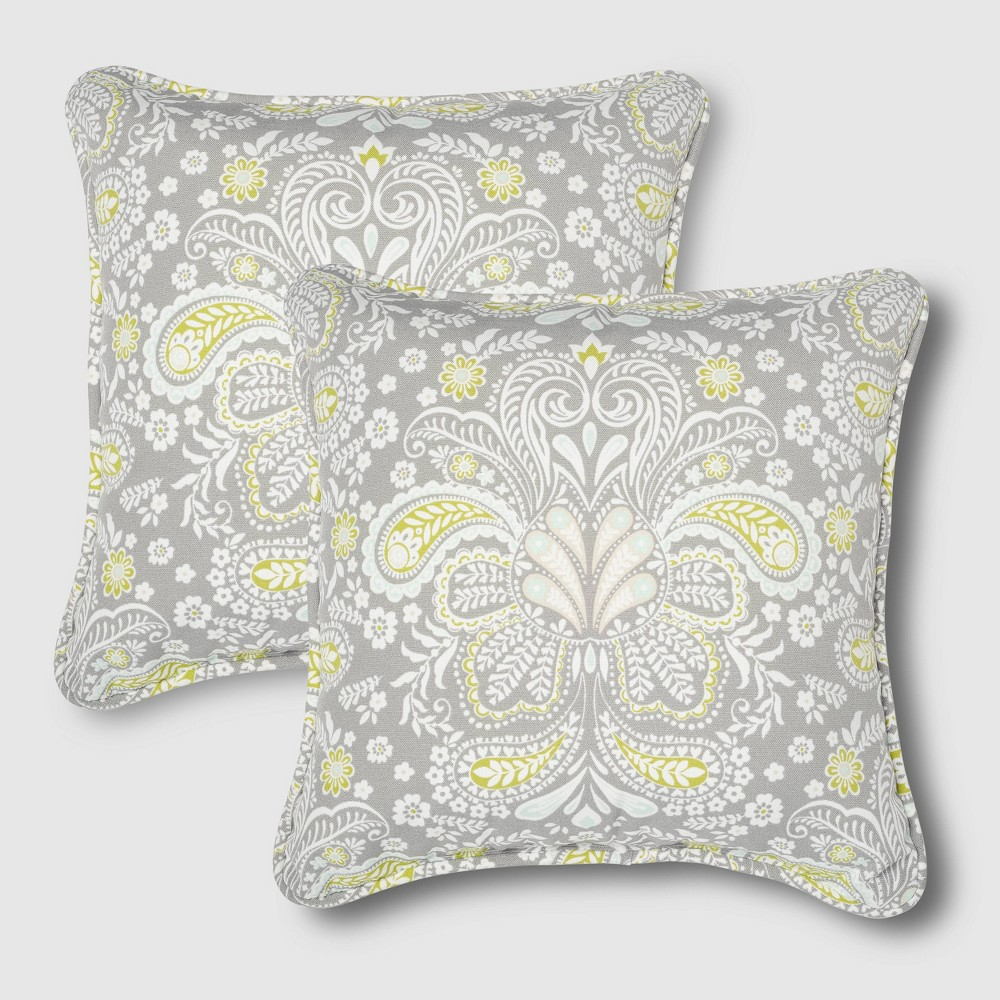 Image of 2pc Rolston Outdoor Accent Pillows Gray - Grand Basket