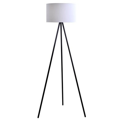 "61.25"" Metal Tripod Floor Lamp with Linen Shade Black/White - Cresswell Lighting"
