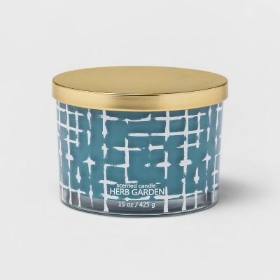 15oz Lidded Glass Jar Crosshatch Pattern 3-Wick Wild Flower Candle - Opalhouse™