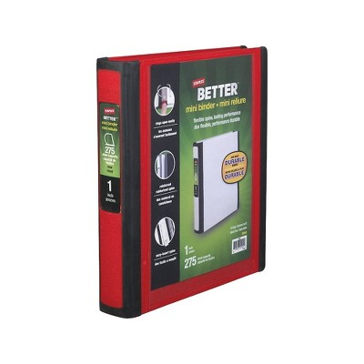 Staples Better Mini 1-Inch D 3-Ring View Binder Red (20947) 55750/20947