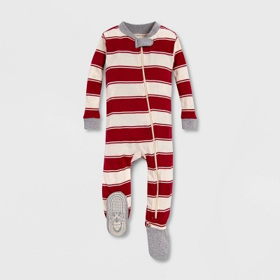 Burt's Bees Baby® Rugby Peace Stripe Organic Cotton Sleeper - Red/Off White 0-3M