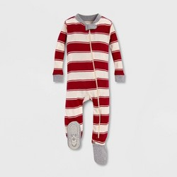 Burt's Bees Baby® Rugby Peace Stripe Organic Cotton Sleeper - Red/Off White