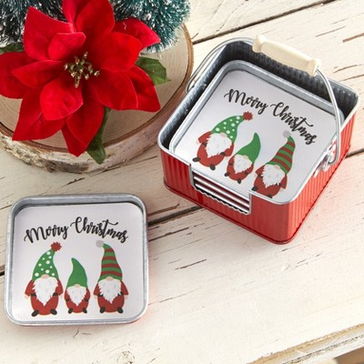 Lakeside Holiday Gnomes Drink and Beverage Container Coaster Sets - 4 Coasters and Tin