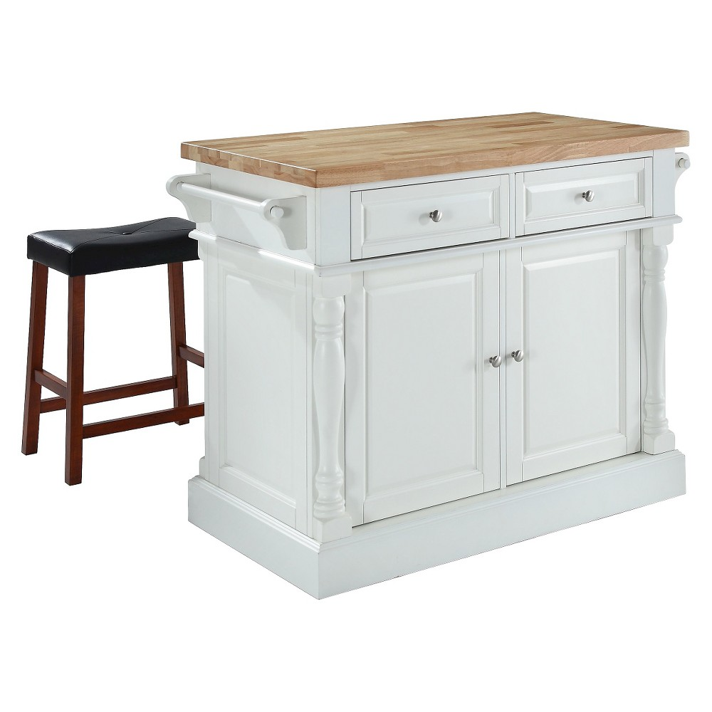 Butcher Block Top Kitchen Island - White with 24 Black Upholstered Saddle Stools - Crosley
