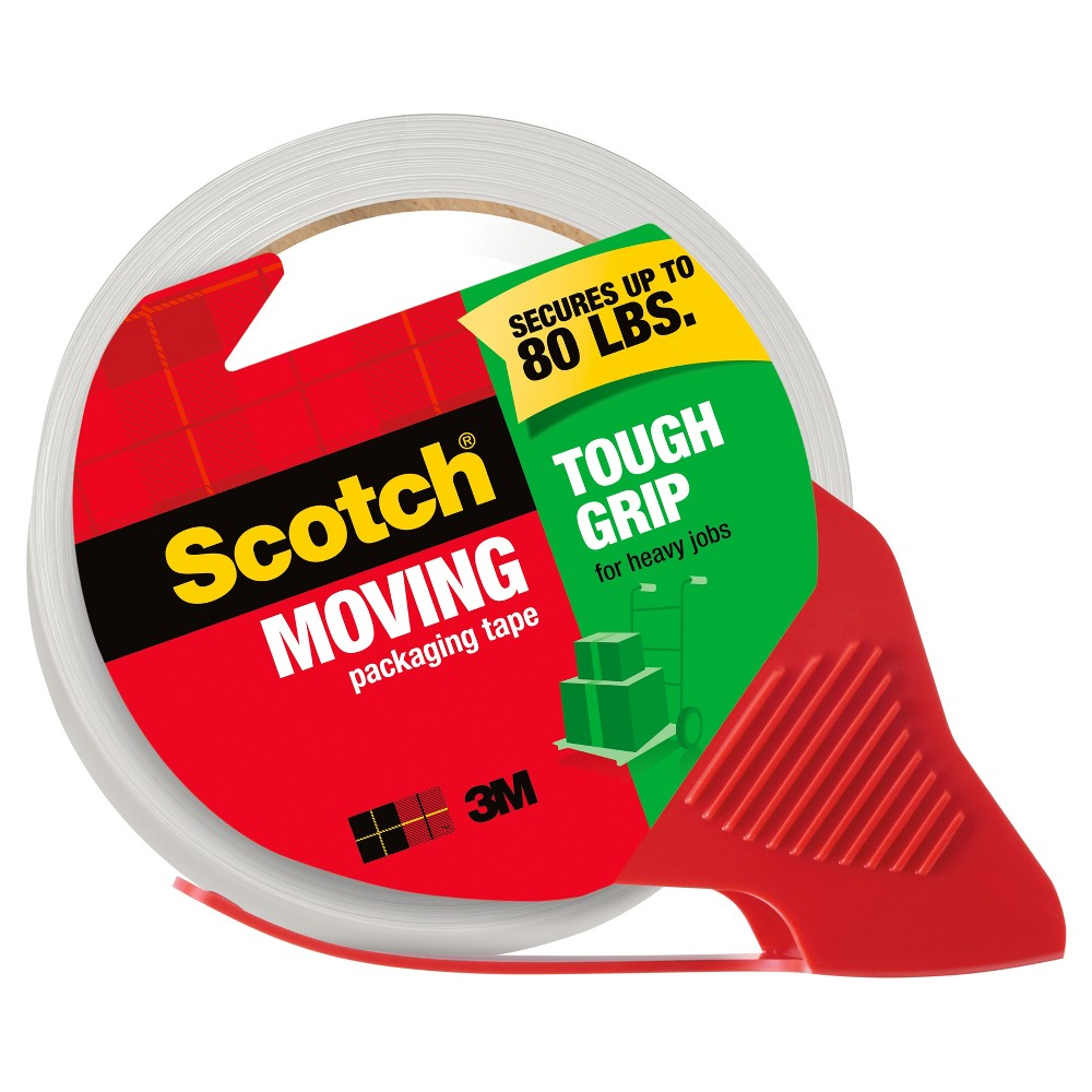 Scotch Tough Grip Moving Tape with Dispenser, 1ct, Clear