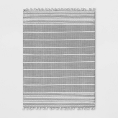 Pick Stitch Textured Stripe with Tassel Rug Jet Gray - Hearth & Hand™ with Magnolia