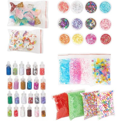 Bright Creations 70-Pack Unicorn DIY Slime Kit, with Foam Beads, Sequins Slices, and Glitter Jars (Assorted Sizes)