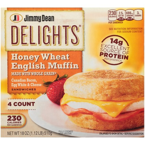 Jimmy Dean Delights Canadian Bacon Egg Whites Cheese Honey Wheat