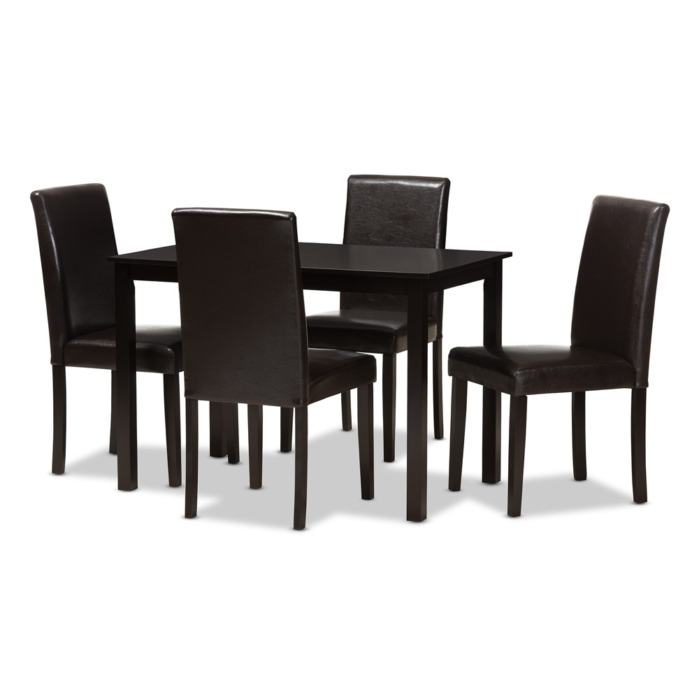 Mia Modern And Contemporary Faux Leather Upholstered 5pc Dining Set Dark Brown - Baxton Studio