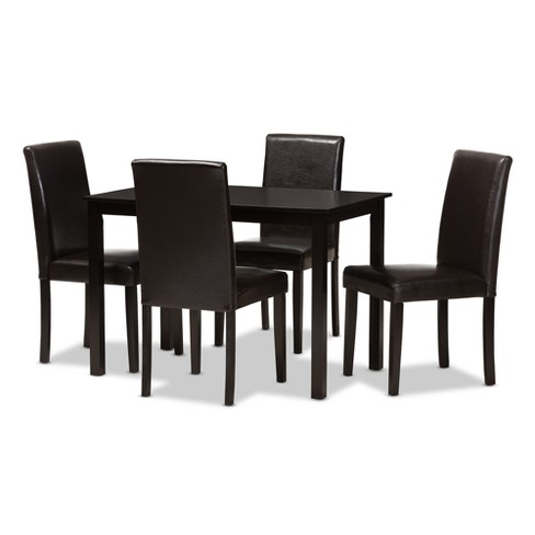 Mia Modern And Contemporary Faux Leather Upholstered 5pc Dining Set Dark Brown - Baxton Studio - image 1 of 7