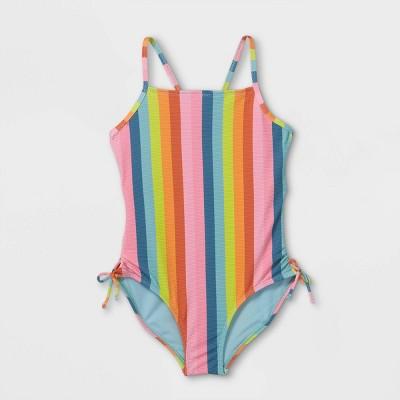 Girls' Striped One Piece Swimsuit - art class™