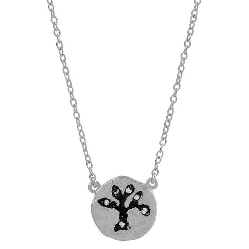 "1/10 CT. T.W. Round-cut CZ Pave Set Tree Pendant Necklace in Sterling Silver - Silver (16"") - image 1 of 2"