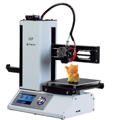 Monoprice Select Mini 3D Printer v2 - White With Heated (120 x 120 x 120 mm) Build Plate, Fully Assembled + Free Sample PLA Filament, MicroSD Card