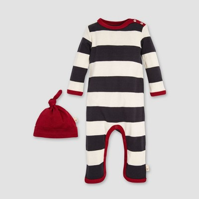 Burt's Bees Baby Organic Cotton Rugby Stripe Coverall & Hat Set - Cream/Gray 24M