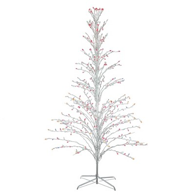 Northlight 6' Prelit Artificial Christmas Tree White Lighted Cascade Twig Outdoor Decoration - Multi-Color Lights