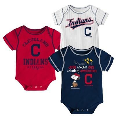Cleveland Indians Baby Boys' 3pk Short Sleeve Bodysuit - 0-3 M