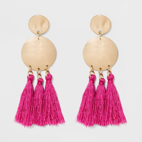 Two Gold Coins and Tassels Earrings - A New Day™ Pink/Gold - image 1 of 2