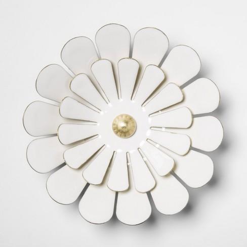 "7.7"" Decorative Enamel Flower Wall Art White - Opalhouse™ - image 1 of 2"