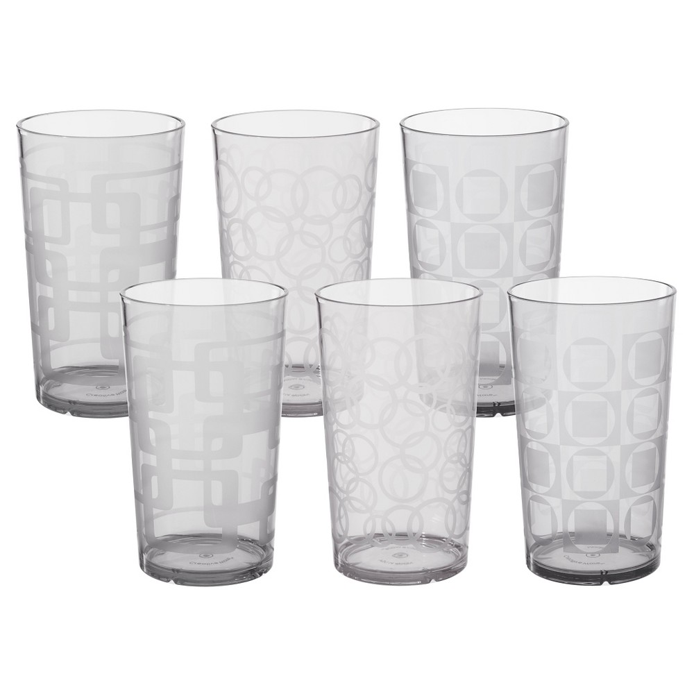 Image of CreativeWare 24oz Acrylic Etched Tumblers - Set of 6, Clear