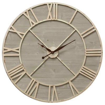 36  Antique Ivory and Driftwood Wall Clock - StyleCraft