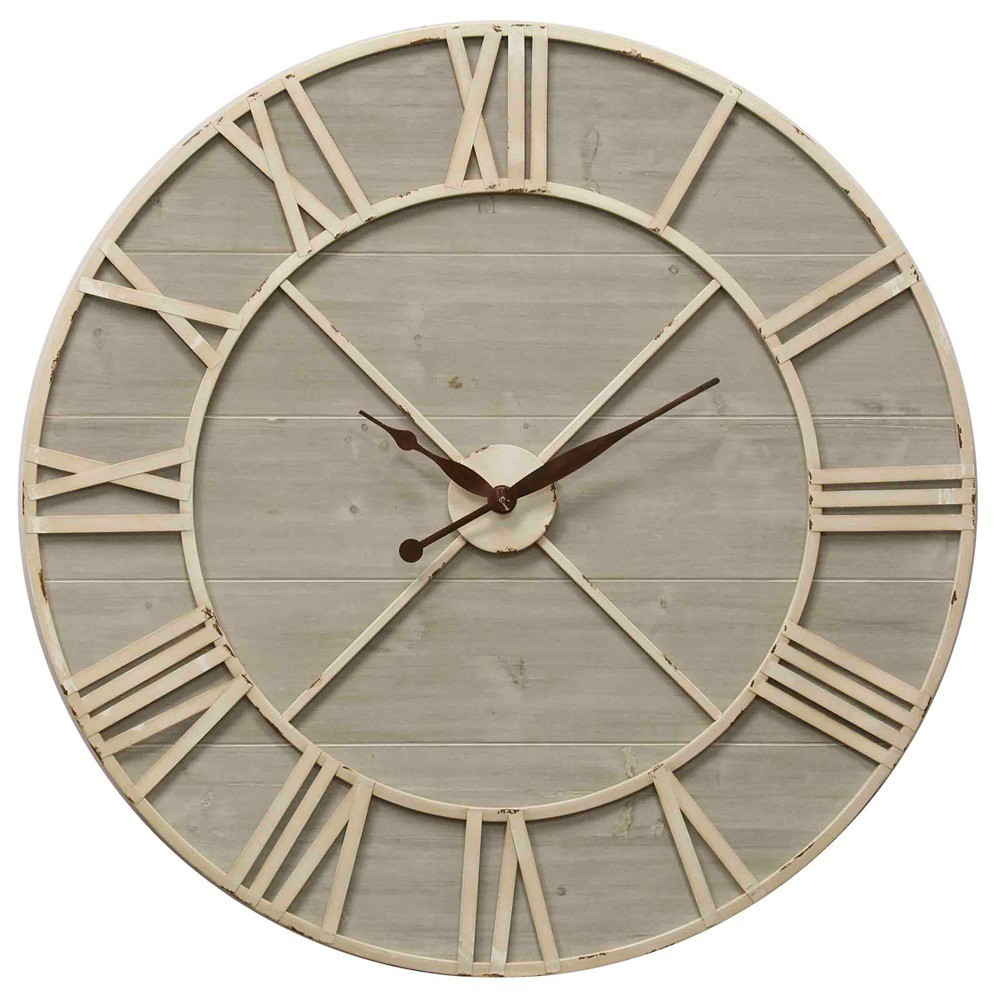 36 Antique Ivory and Driftwood Wall Clock - StyleCraft, Multi-Colored