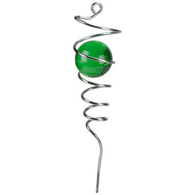 "Ganz 10.25"" Silver Wind Spinner Spiral Tail Stabilizer with Green Ball"