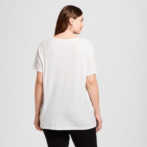 f9deeb8eaed Women s Plus Size Monterey Pocket V-Neck Short Sleeve T-Shirt - Universal  Thread™ White 3X   Target